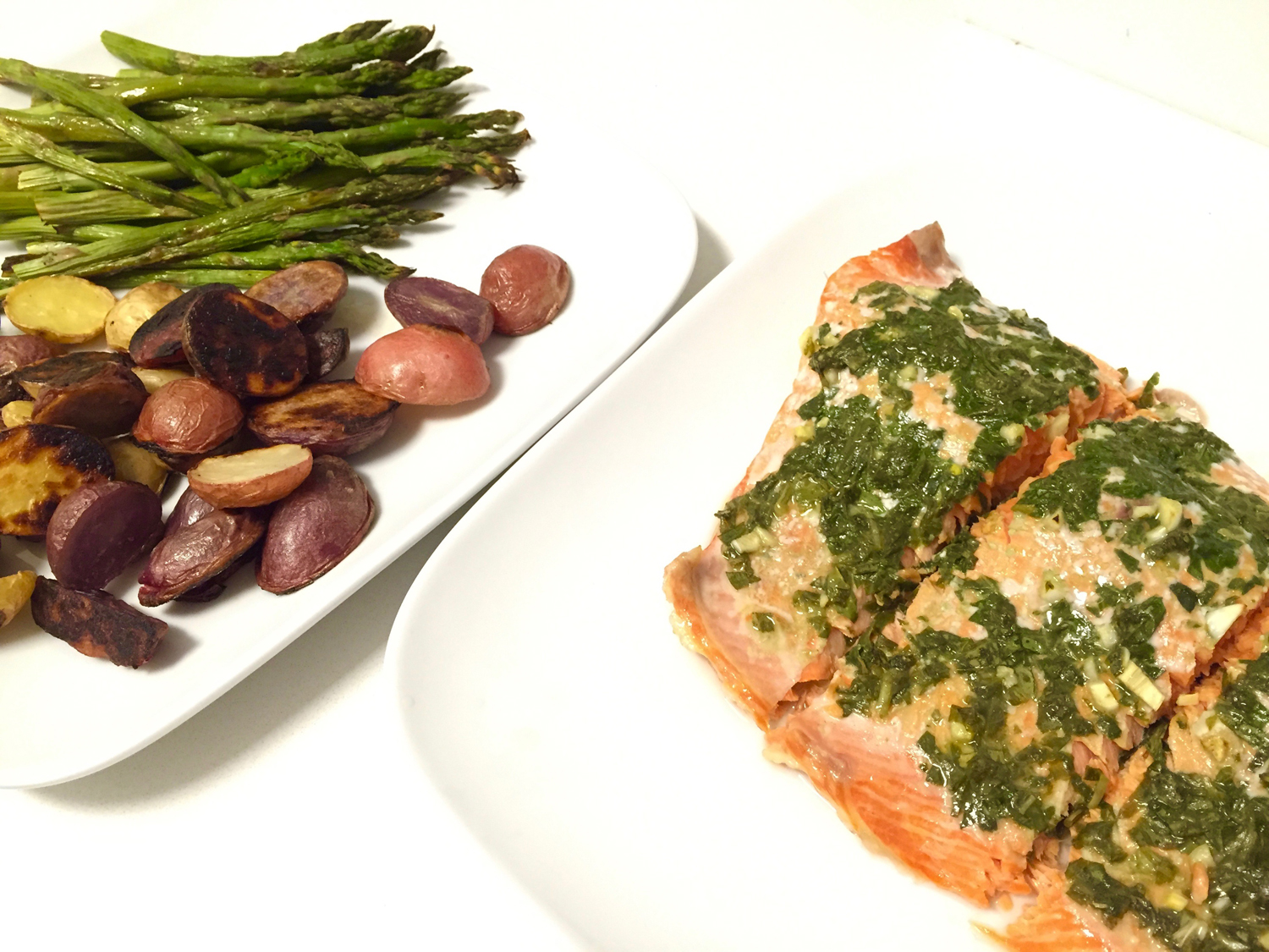 Easy Pesto Salmon With Roasted Vegetables
