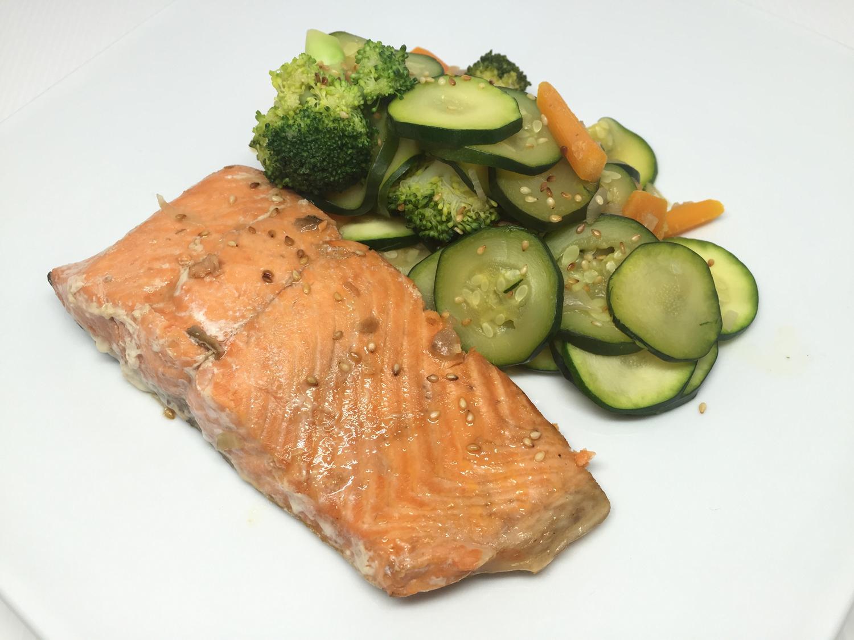 Teryaki Salmon With Sesame Veggies