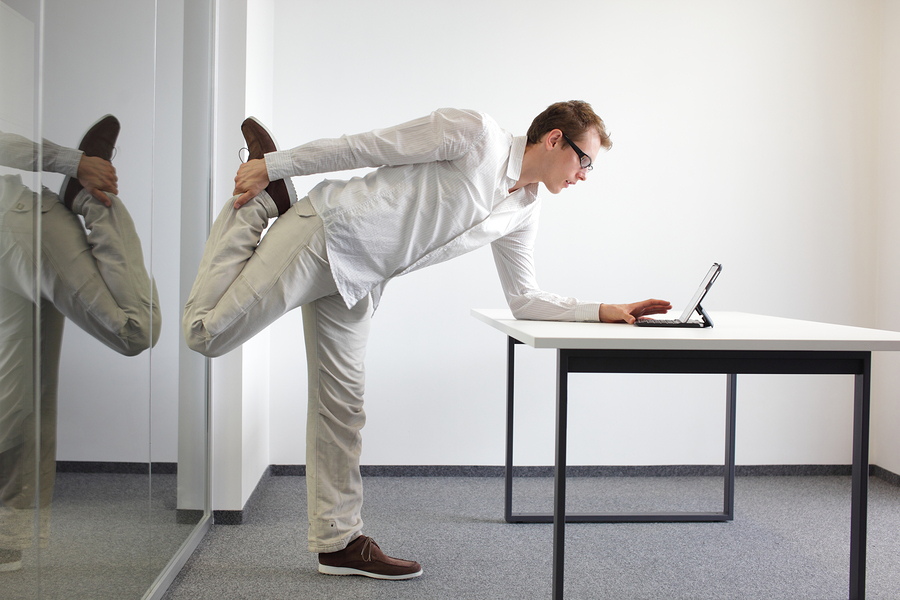 Leg Exercise Office Work – Standing Man Reading At Tablet