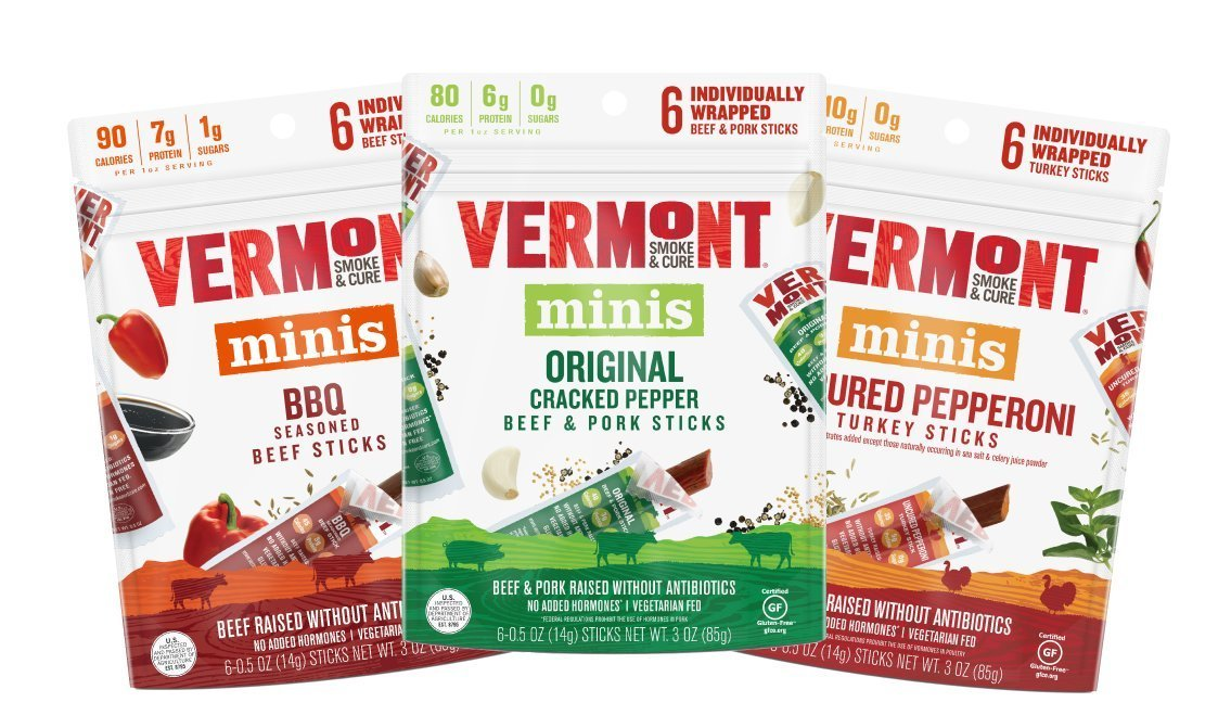 Vermont Smoke & Cure Mini Meat Sticks, Antibiotic Free, Gluten Free, Variety Pack, .5oz Meat Stick, 6 Count Go Pack, 3 Count