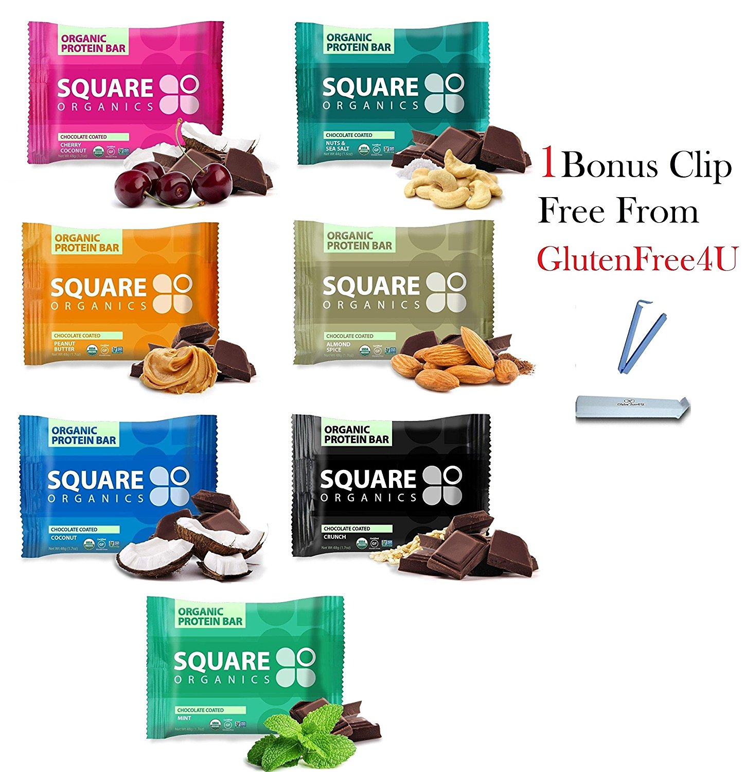 Squarebar Organic Protein Bar, All Variety! Pack Of 7 + 1 Bonus Clip From Glutenfree4U